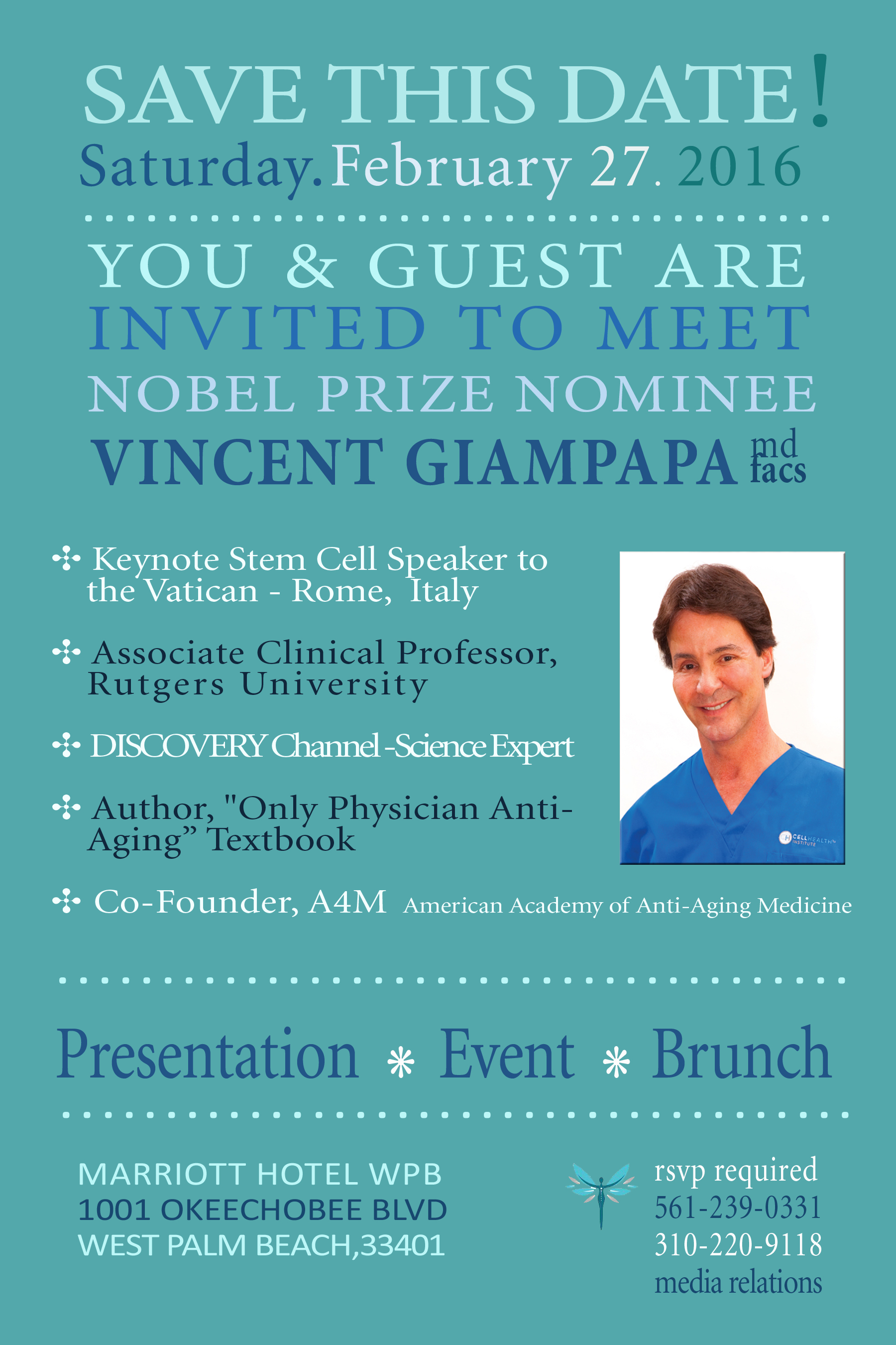 V. Giampapa, MD-FACS, Nobel Prize Nominee to Present on Advances in Stem Cell Research & Applications, Feb. 27 – Palm Beach, Florida