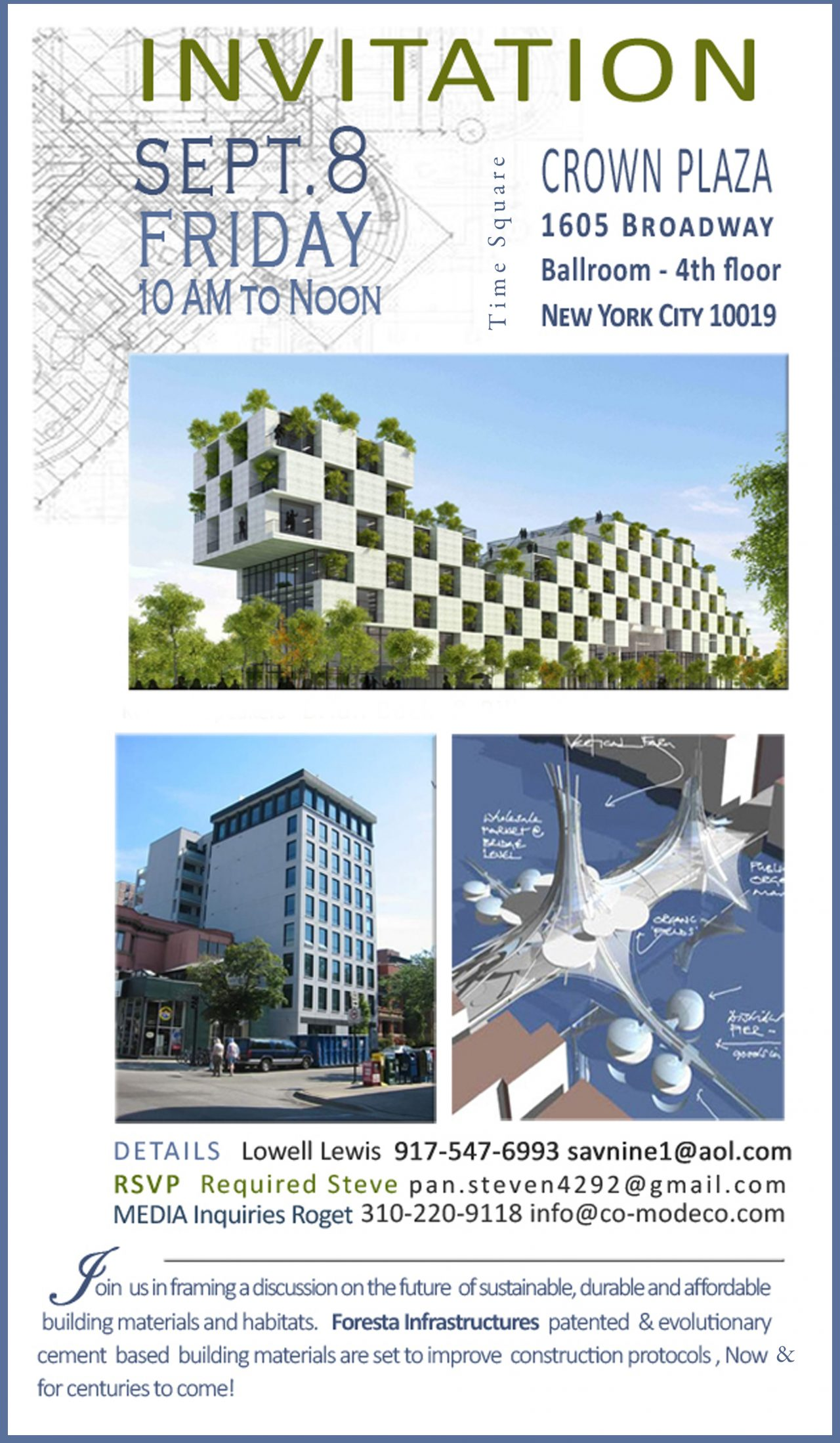 Times Square Crown Plaza – Presents Foresta Infrastructures, LLC -Construction Materials for the 22nd Century & Beyond-September 8 – 10am to Noon