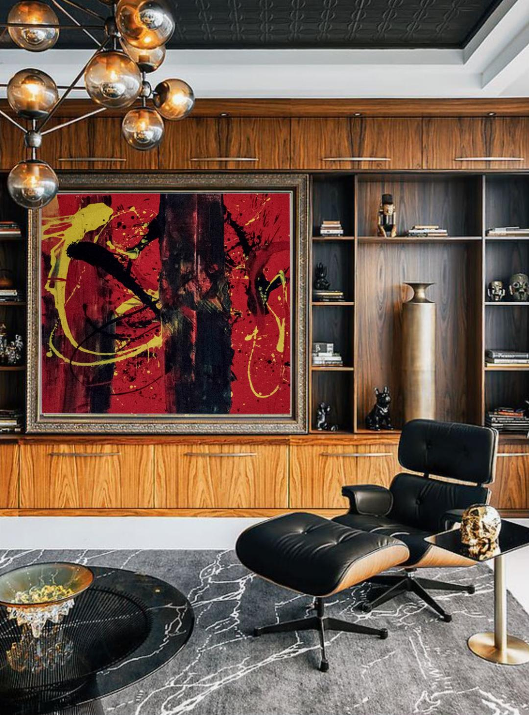 Big splash of red in interior design Ori Gal