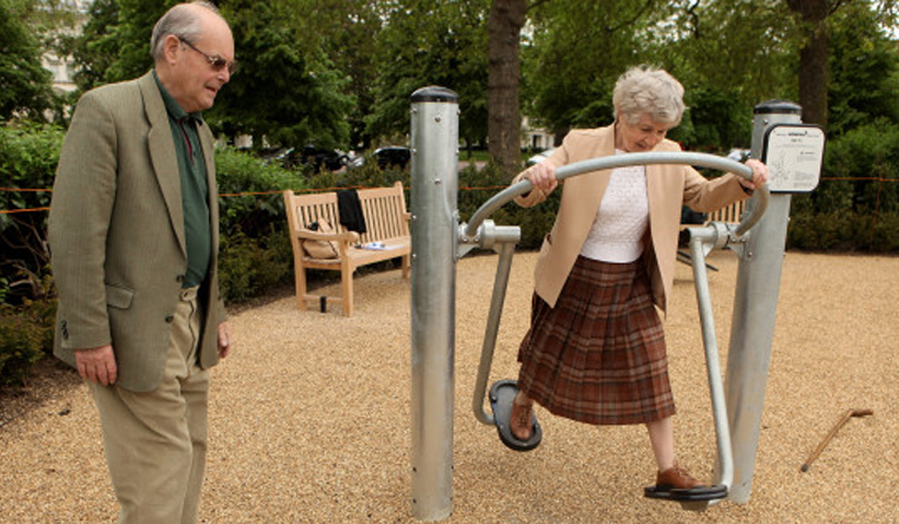 LONDON, ENGLAND - MAY 19: Pensioners exercise in London's first purpose built 'Senior Playground' in Hyde Park on May 19, 2010 in London, England. The playground, which cost 50,000 GBP, features six machines: a cross-trainer, sit-up bench, body-flexer, free runner, flex wheel and an exercise bike. (Photo by Oli Scarff/Getty Images)